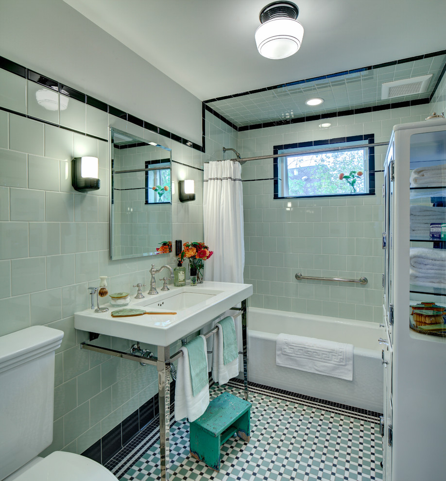 Bathroom - small craftsman green tile and ceramic tile porcelain floor bathroom idea in New York with a console sink, a two-piece toilet and green walls