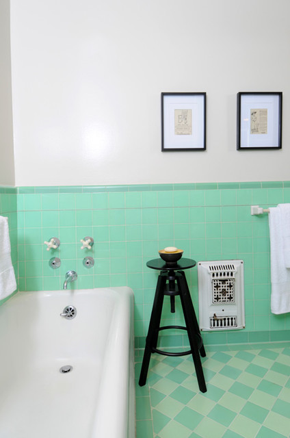 Vintage Bathroom with Green Tile traditional-bathroom