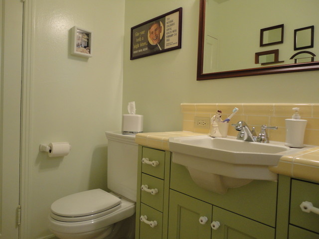 Vintage green yellow bath traditional bathroom san for Yellow and green bathroom ideas