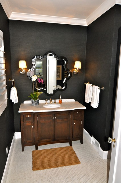 Trendy Mosaic Tile Bathroom Photo In Sacramento With Black Walls