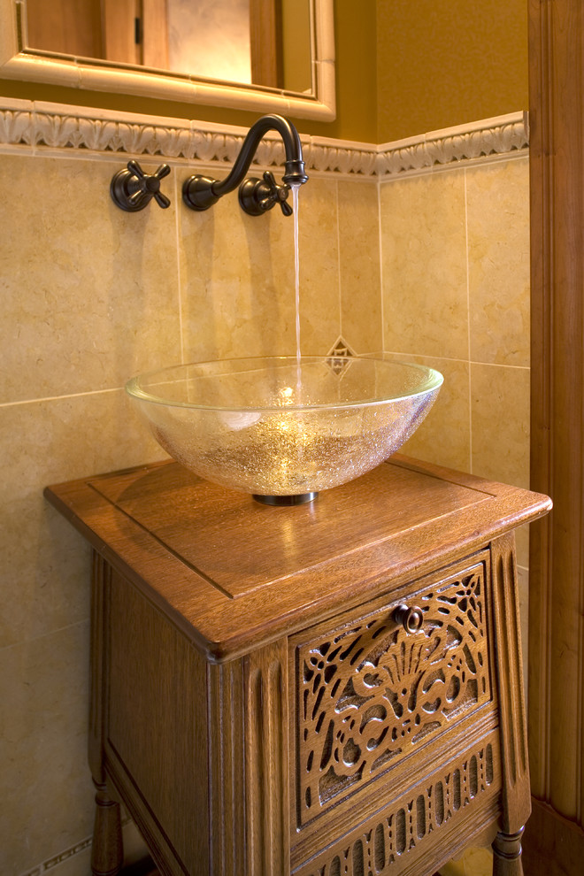 Example of a classic bathroom design in Boston with a vessel sink