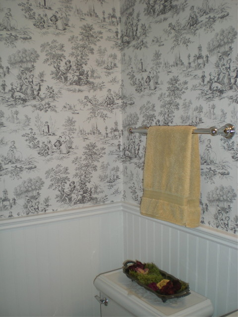 Vintage style powder room beadboard and toile wallpaper for Vintage bathroom wallpaper designs