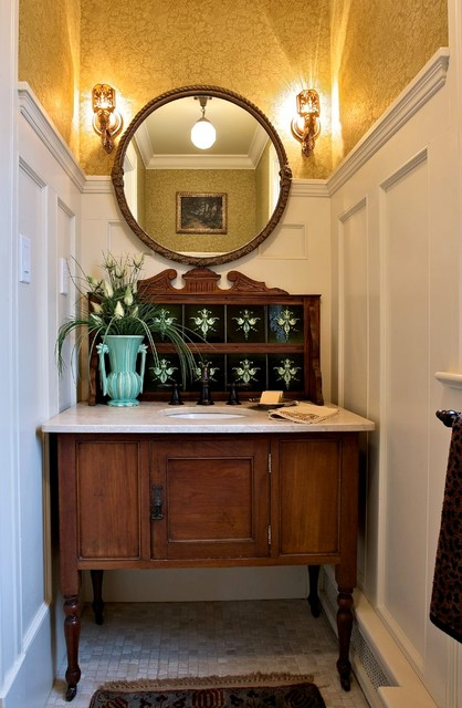 Vintage Washstand Craftsman Bathroom New York By Carisa Mahnken Design Guild