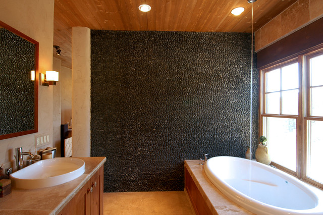 Vivid Black Standing Pebble Tile Bath Tiles Contemporary