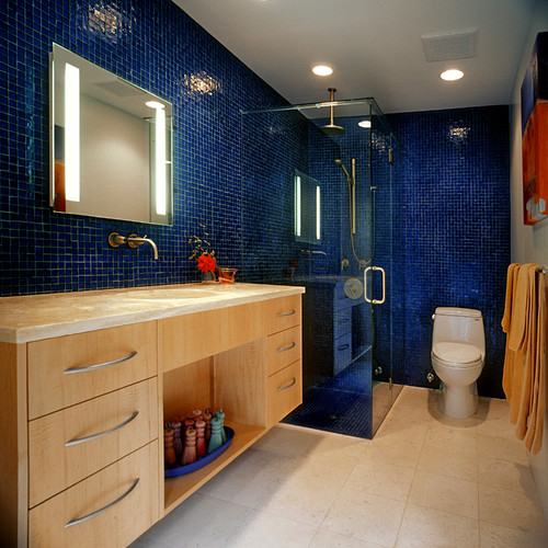 contemporary bathroom Color of the Month: Decorating with Cobalt