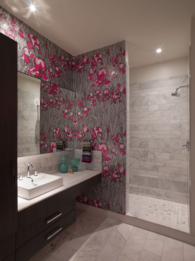 Example of a trendy bathroom design in Austin with a vessel sink and multicolored walls