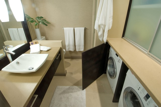 waikiki chic contemporary bathroom - Bathroom Laundry Room Combo Floor Plans