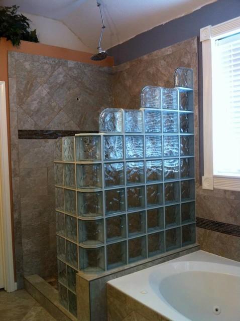 Walk In Glass Block Shower Modern Bathroom New York