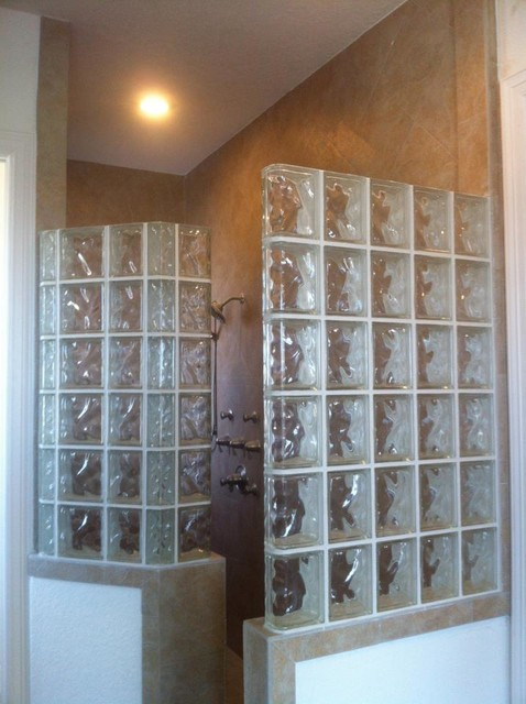 Walk In Glass Block Shower With Decora Glass Blocks