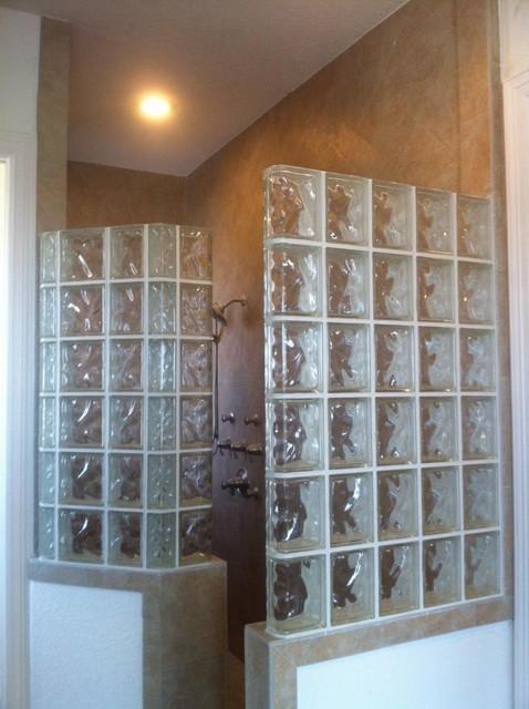 Walk In Glass Block Shower With Decora Glass Blocks