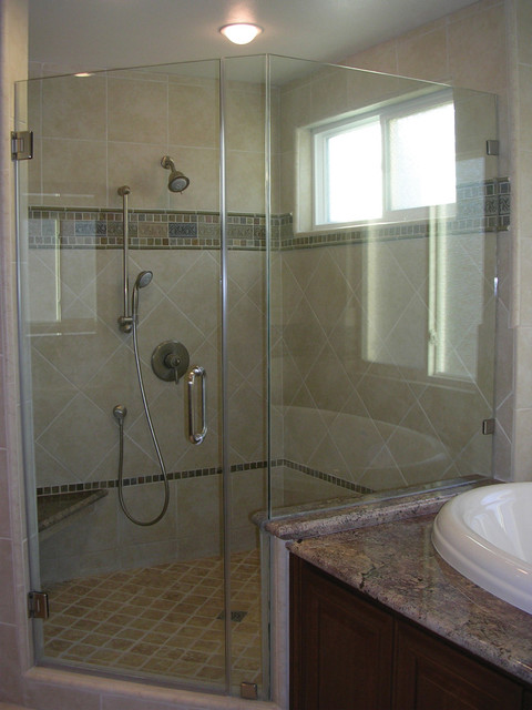Walk in shower and jetted tub in Master Bath San Jose, CA traditional-bathroom