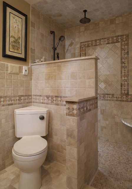 Walk in shower mediterranean bathroom other metro for Bathroom design build