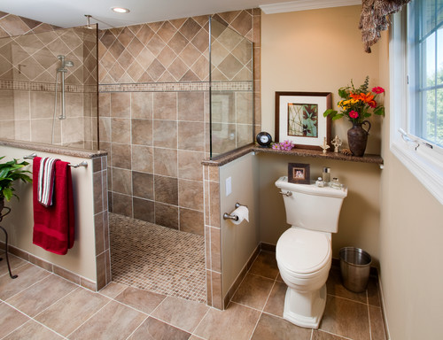 A large master bathroom shower is easier to clean than a small one.