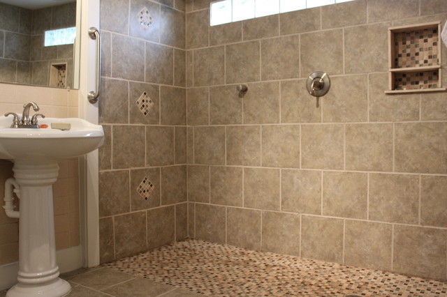 Walk-in Shower rustic-bathroom