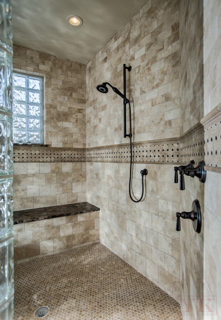 Walk in shower rustic mountain home in brekenridge co for Cabin shower tile ideas