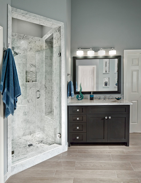 Vanity Lights Overlay Mirror : Walk-in shower - Transitional - Bathroom - dallas - by USI Design & Remodeling