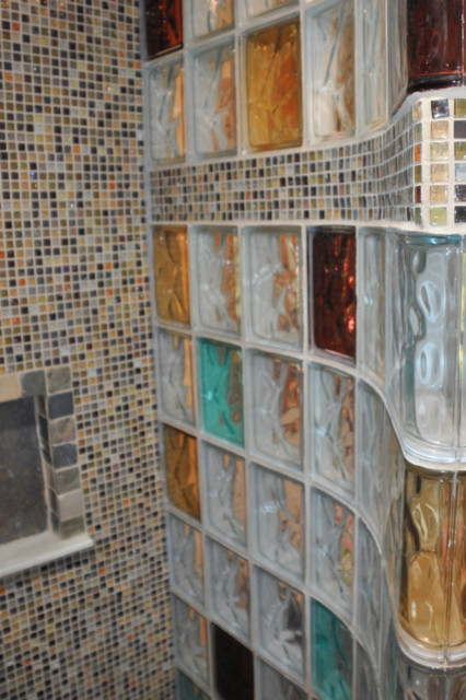 Walk In Shower With Colored Glass Blocks And A Mosaic Tile