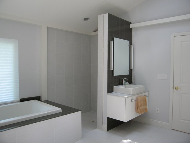 Walk In Shower Without Glass Doors Or Curtains Bathroom Tampa By Interi