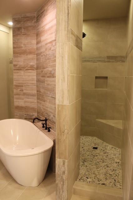 Walk through custom master shower craftsman bathroom for Walk through shower plans