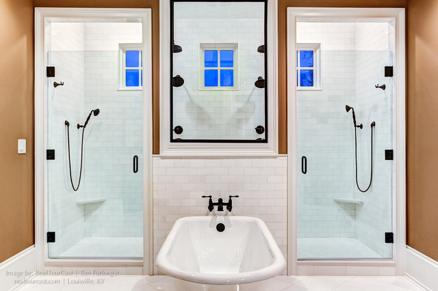 Walk through master bathroom with free standing tub modern bathroom louisville by for Bathroom mirrors louisville ky