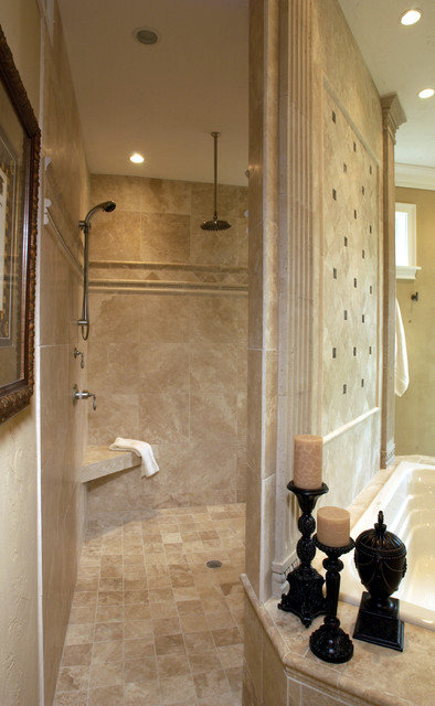 Walk through shower traditional bathroom other by for Walk through shower plans