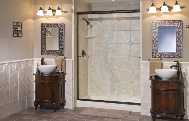Wall surrounds wainscoting mediterranean bathroom for Bathroom design grand rapids mi