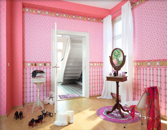 Wallpaper Accent Wall eclectic-bathroom
