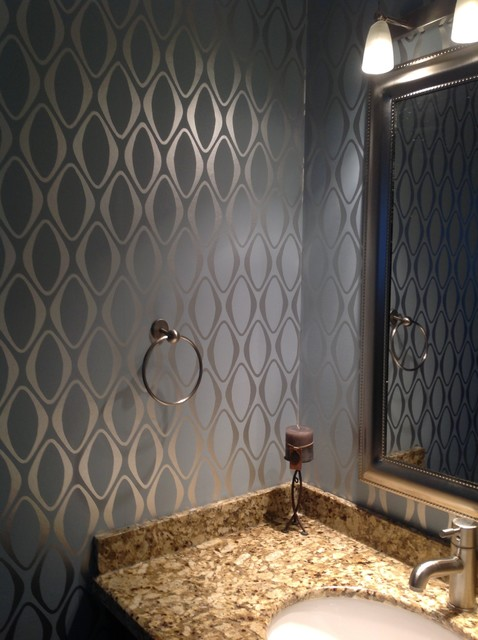 Wallpaper Contemporary Bathroom