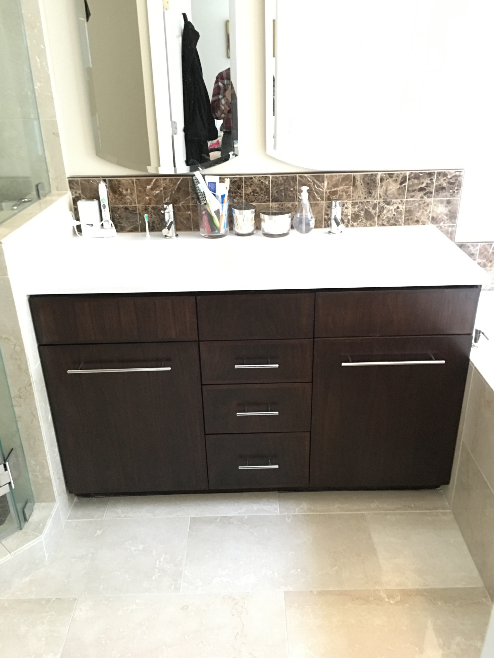 Walnut and birch Vanity