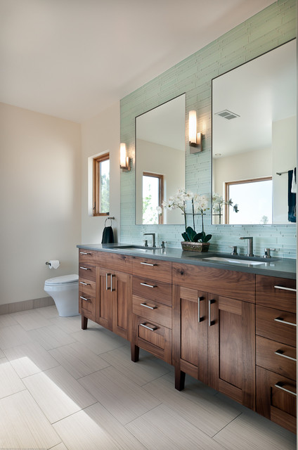 Walnut Bathroom Vanity - Transitional - Bathroom - denver - by Marc Hunter Woodworking | Design