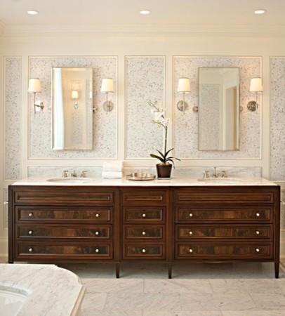 Walnut burl vanity traditional-bathroom