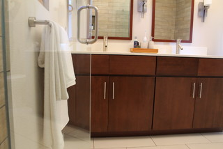 Walnut Double Sink Vanity With Modern Fixtures Contemporary Bathroom Los Angeles By