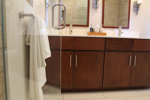 Walnut Double Sink Vanity With Modern Fixtures