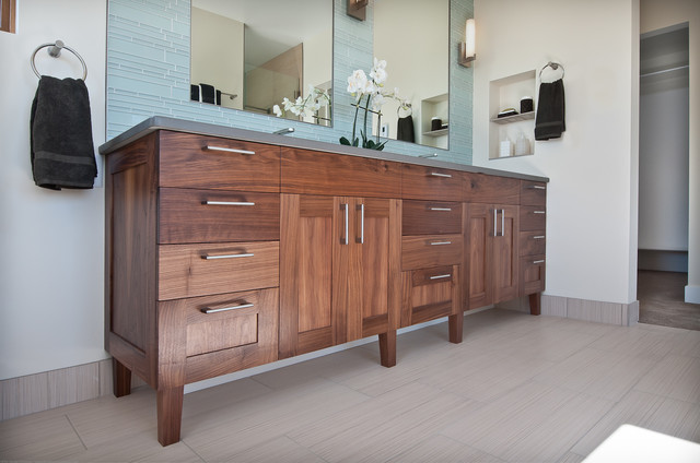 Walnut Vanity Transitional Bathroom