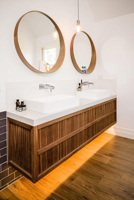 Bathroom Mirrors Melbourne walnut veneer vanity - contemporary - bathroom - melbourne -