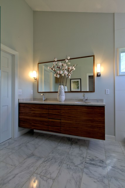 Walnut Wall Hung Vanity With Matching Mirror And Dual