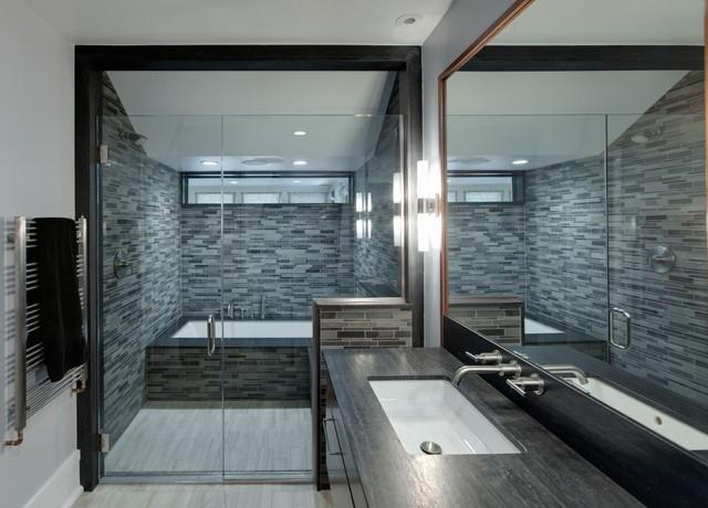 Evanston Prairie Style house renovation modern-bathroom