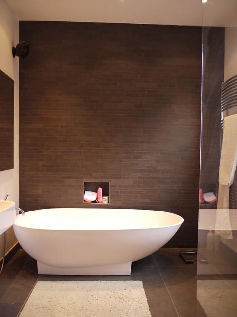 Trendy brown tile bathroom photo in London