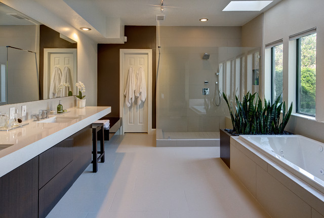 Warm modern bathroom modern bathroom houston by for Warm bathroom