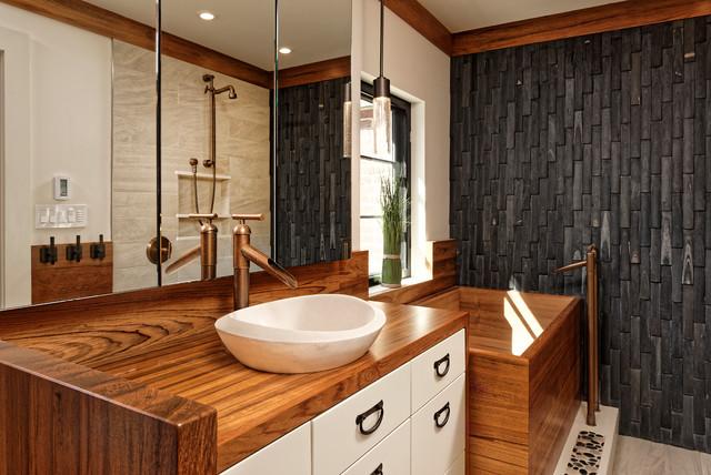 Washington Dc Asian Inspired Teak Wood Vanity Top