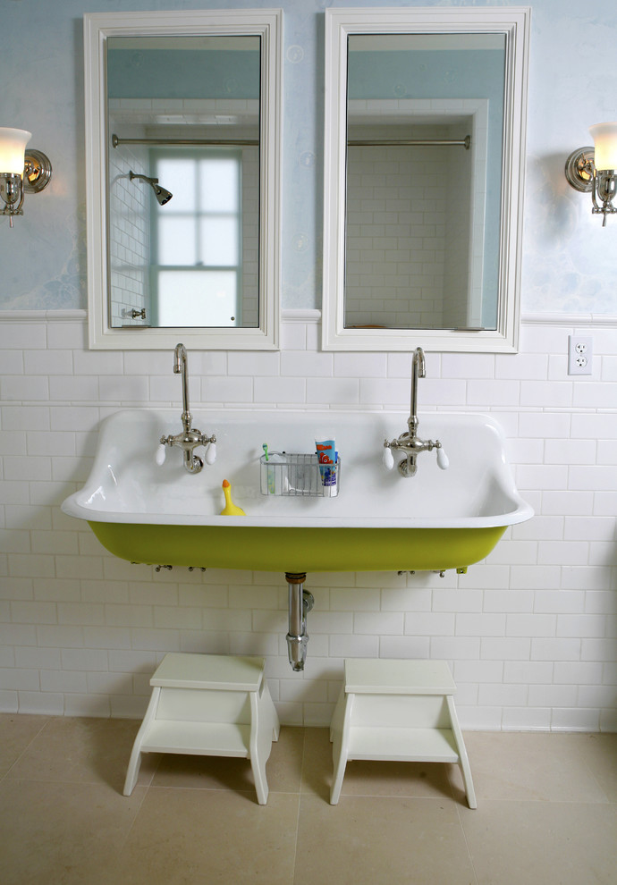 Bathroom - traditional kids' white tile and subway tile bathroom idea in San Francisco with a trough sink