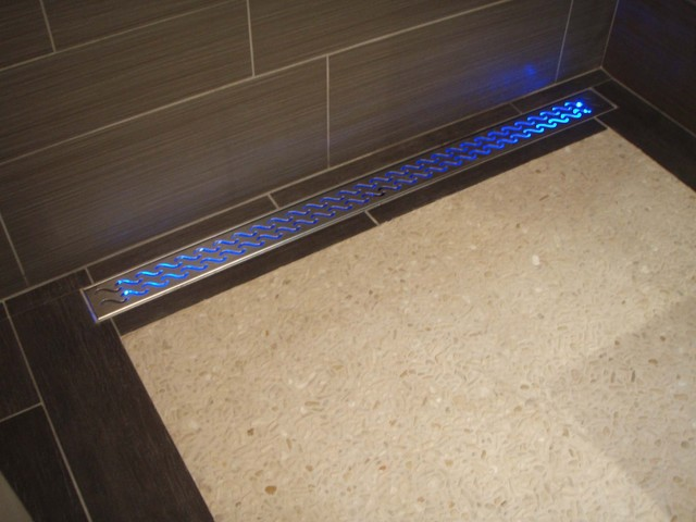 Water-activated LED shower drain contemporary bathroom