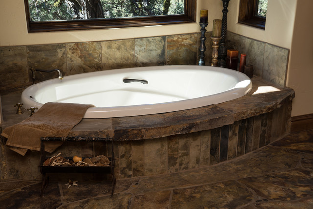 Water tower inspired home master bath suite soaking tub for Bathroom ideas with soaker tubs