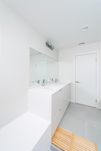 Waterfall Counter Edge At Minimal Secondary Bath Modern