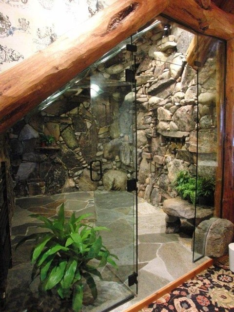 Waterfall Shower Tropical Bathroom Tampa By Inside