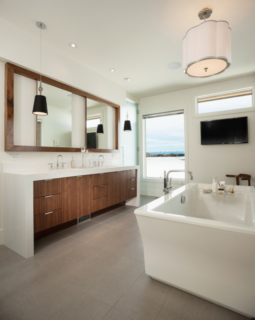 Freestanding bathtub - large contemporary master ceramic floor and gray floor freestanding bathtub idea in Calgary with flat-panel cabinets, medium tone wood cabinets, white walls, an undermount sink, engineered quartz countertops and white countertops