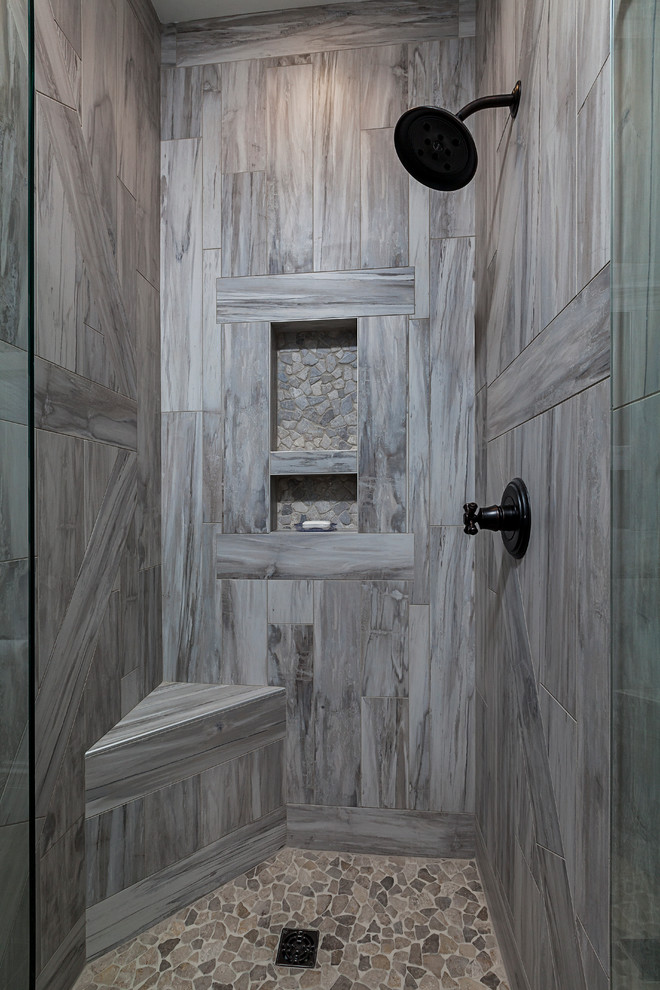 Walk-in shower - mid-sized farmhouse master mosaic tile floor walk-in shower idea in Grand Rapids