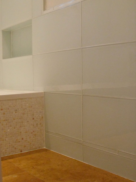 Waterworks 12 x 24 white glass tile contemporary for 12x24 bathroom tile ideas