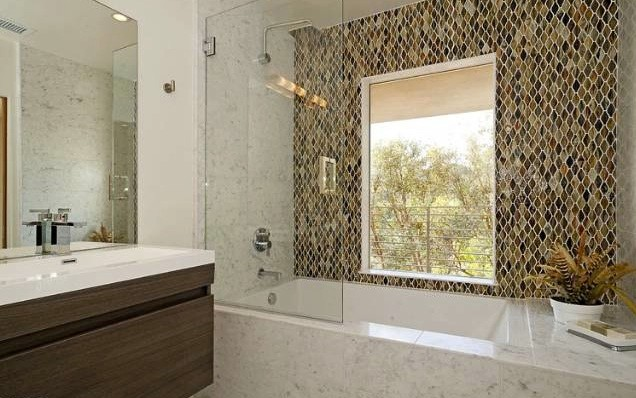 Wave Glass Mosaic Tile Shower Wall Contemporary
