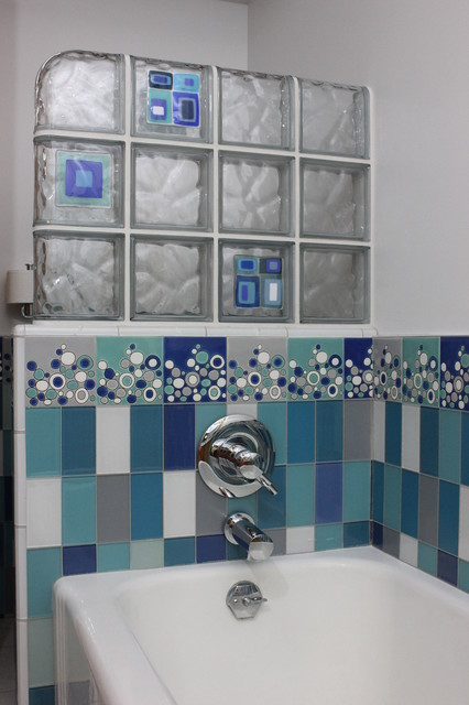 Wave Patterned Glass Block Partition Wall With Decorative Glass Tile - Bathroom partitions san francisco